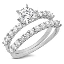 Clara Pucci 3.0 CT Round Cut CZ Pave Halo Designer Solitaire Ring Band Set 14k White Gold