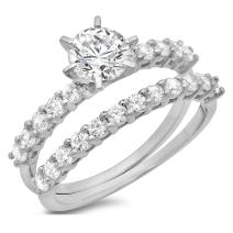 Clara Pucci 3.20 CT Round Cut Simulated Diamond CZ Pave Halo Bridal Engagement Wedding Ring Band Set 14k White Gold