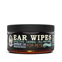 "MISTER BEN'S Original XXL Treated Ear Cleaner Wipes w/Aloe for Dogs, Cats Small Pets – Most Effective Wipes Soothe & Clean Odors, itching, and irritations – Approx 100 Extra Large 3"" Pads"