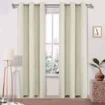DWCN Blackout Curtains Room Darkening Grommet Window Curtain Thermal Insulated Drapes for Bedroom Living Room 42 x 95 Inches Length, 1 Panel, Beige