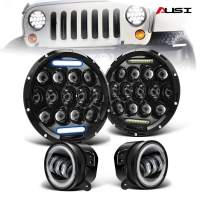 """AUSI DOT Approved Pair 7"""" Led Round Headlights Hi/Lo Beam DRL Projector Headlamps + Pair 4"""" Front Bumper Led Fog Lights For 2007-2017 Jeep Wrangler JK Rubicon JKU Sahara Sport Unlimited Willys"""