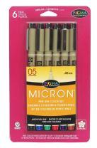 """Sakura Pigma 30065 Micron Blister Card Ink Pen Set, Ass't Colors, 05 6CT """"A"""" Set"""