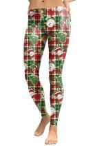 COCOLEGGINGS Womens Digital Print Ugly Christmas Sweater Leggings Tights