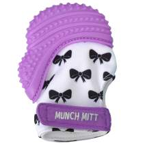Malarkey Kids Munch Mitt Teething Mitten - The ORIGINAL Mom-Invented Silicone Teether Mitten with Travel Bag - Ideal Teething Toys for Baby Shower Gift - Purple Bow