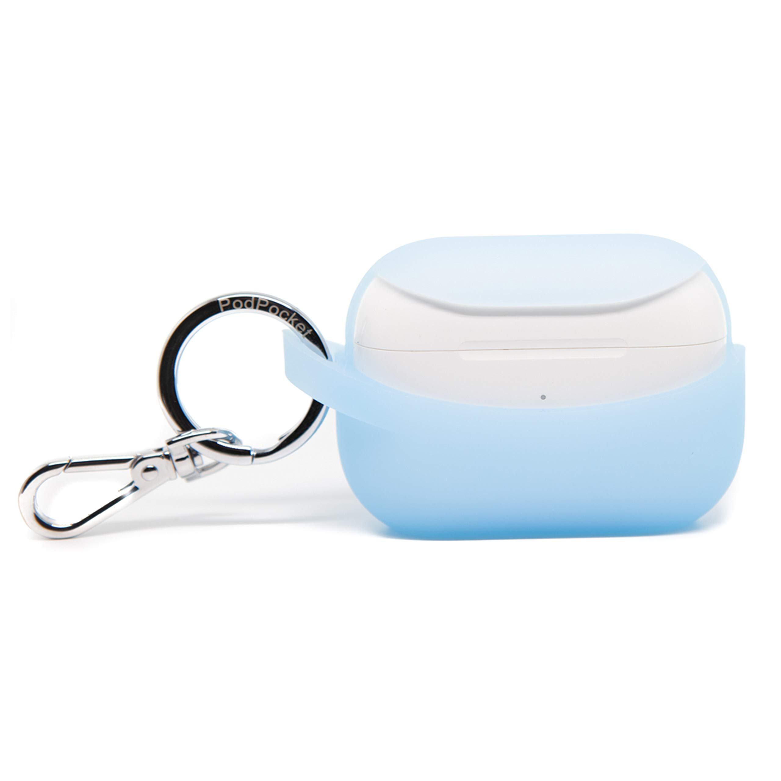 PodPocket Secure Pro AirPod Storage Case with Wireless Charging and Impact Protection Powder Blue
