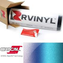 "ORACAL 970RA Shift Effect Gloss Turquoise Lavender 989 Wrapping Cast Film Vehicle Car Wrap Vinyl Sheet Roll - (4"" x 6"" Sample Size)"