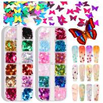 24 Colors/set 3D Holographic Butterfly Glitter Nail Art Stickers, Splarkly Butterfly Nail Art Decals Sequins Flake Acrylic Manicure Paillettes Face Body Glitters for Nail Art Decoration & DIY Crafting