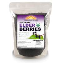USDA Certified Organic Elderberries - Responsibly Wild Crafted, Whole European Elderberry, Perfect for Tea, Syrups, and More - Sambucas Nigra (1 Pound) - Bulk Resealable Bag (Certified Organic)