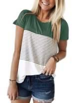 ZAWAPEMIA Womens Short Sleeve Tshirts Round Neck Triple Color Block Stripe T Shirts