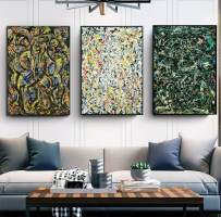 """INVIN ART Combo Painting 3 Pieces by Jackson Pollock Framed Canvas Giclee Print Art Abstract Wall Art Series #2(Black Slim Frame,24""""x32""""Each Piece)"""