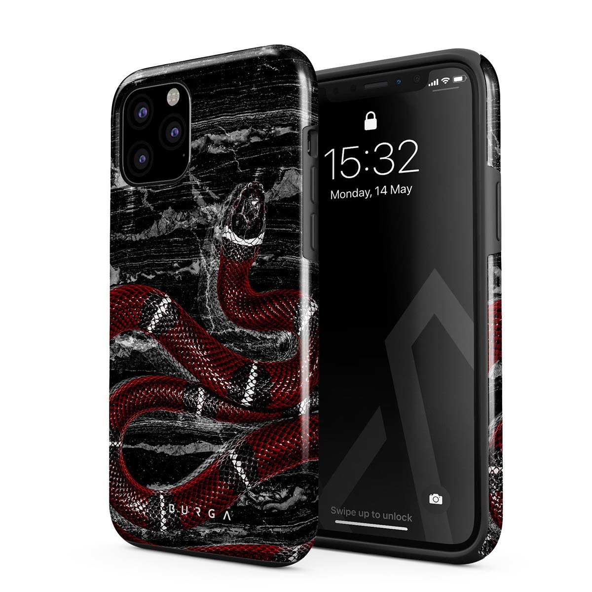 BURGA Phone Case Compatible with iPhone 11 PRO - Poisonous Kiss Savage Red Snake Cute Case for Girls Heavy Duty Shockproof Dual Layer Hard Shell + Silicone Protective Cover