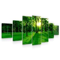 STARTONIGHT Huge Canvas Wall Art Green Forest - Large Framed Set of 7 40 x 95 Inches