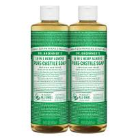 Dr. Bronner's - Pure-Castile Liquid Soap (Almond, 16 ounce, 2-Pack) - Made with Organic Oils, 18-in-1 Uses: Face, Body, Hair, Laundry, Pets and Dishes, Concentrated, Vegan, Non-GMO