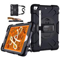 iPad Mini 5 Case, iPad Mini 4 Case Military Grade Shockproof Protective Case with Stand + Hand & Shoulder Strap + Pencil Holder for iPad Mini 5th/4th Generation 7.9 Inch 2019/2015 for Kids Black