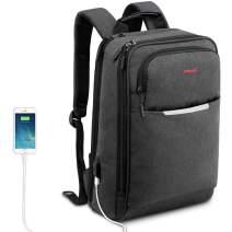 Kuprine Slim Business Lightweight Laptop Backpack for Women Men with USB Charging Port, College School Computer Backpack Fit Up to 13 14 Inch Macbook & Laptops