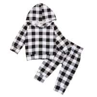 Toddler Infant Baby Boy Clothes Red Plaid Hoodie Sweatshirt Tops and Pants Winter Outfits Set