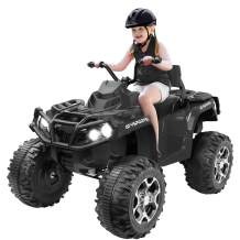 Agestep Electric Kids ATV, 12V Battery Powered Kids 4-Wheeler ATV Quad, Electric 4-Wheeler for Kids with LED Headlights, Music and MP3, High/Low Speed Black