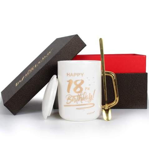 WHATCHA Happy 18th Birthday Coffee Mugs Tea Cups - 18 Birthday Gifts for Boys Girls Men Women Him Her Son Daughter - 13oz Ceramic