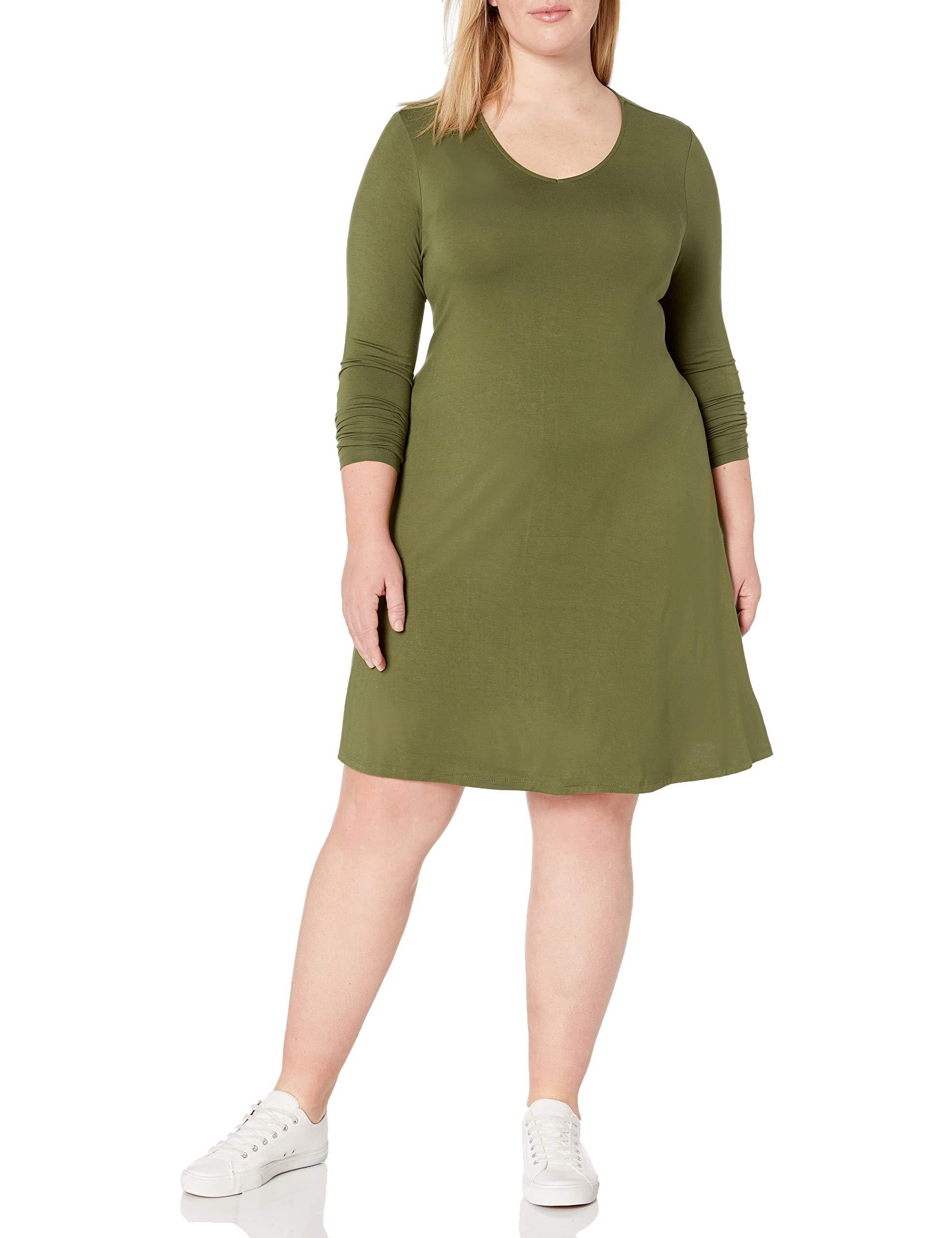 Amazon Brand - Daily Ritual Women's Plus Size Jersey Long-Sleeve V-Neck Dress