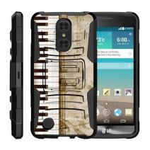 TurtleArmor | Compatible with LG Aristo Case | LG LV3 Case | LG K8 (2017) [Hyper Shock] Heavy Impact Shock Silicone Rugged Case Kickstand Belt Clip Holster Music - Piano Keys