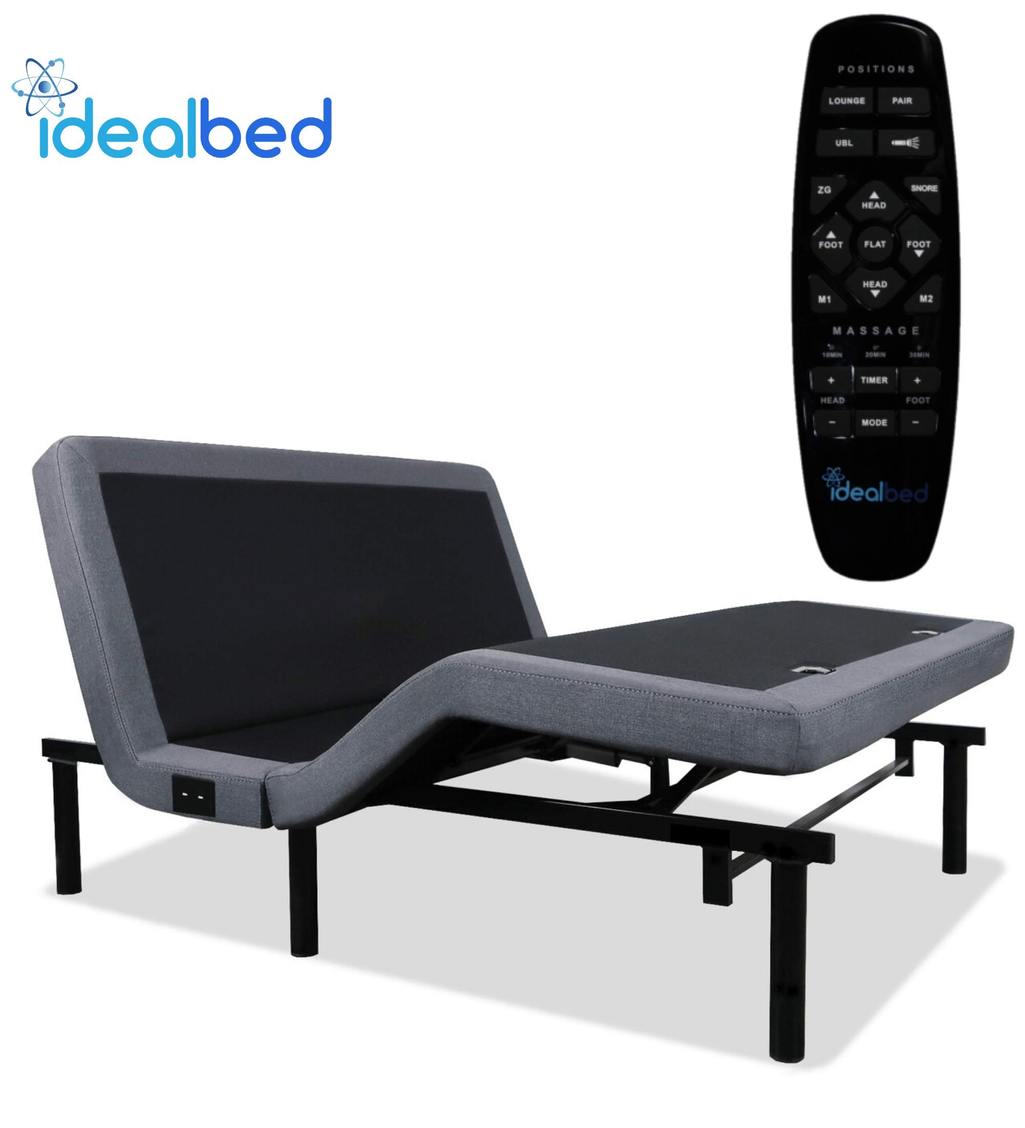 iDealBed 4i Custom Adjustable Bed Base, Wireless, Massage, Dual USB Charge, Nightlight, Zero-Gravity, Anti-Snore, Memory Pre-Sets, Queen