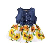 Toddler Baby Girls Princess Dress Sleeveless Denim Tops Floral Tutu Skirts Sunflower Print Dress