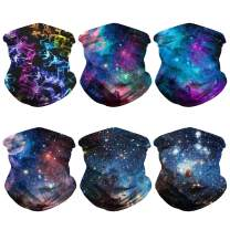 6PCS Galaxy Bandanas Balaclava Unisex Seamless Rave UV Protection Tube Face Neck Gaiter Scarf for Outdoors Dust Sports