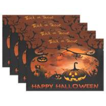WIHVE Halloween Placemats Set of 6 for Dining Table Halloween Night Pumpkins Moon Place Mats Washable Non-Slip Heat Resistant Kitchen Table Mats