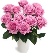 JOEJISN Artificial Flower Roses Fake Roses 12pcs Real Touch Artificial Roses Silk Artificial Roses Long Stem Bridal Wedding Bouquet for Home Garden Office Wedding Decorations (Purple)