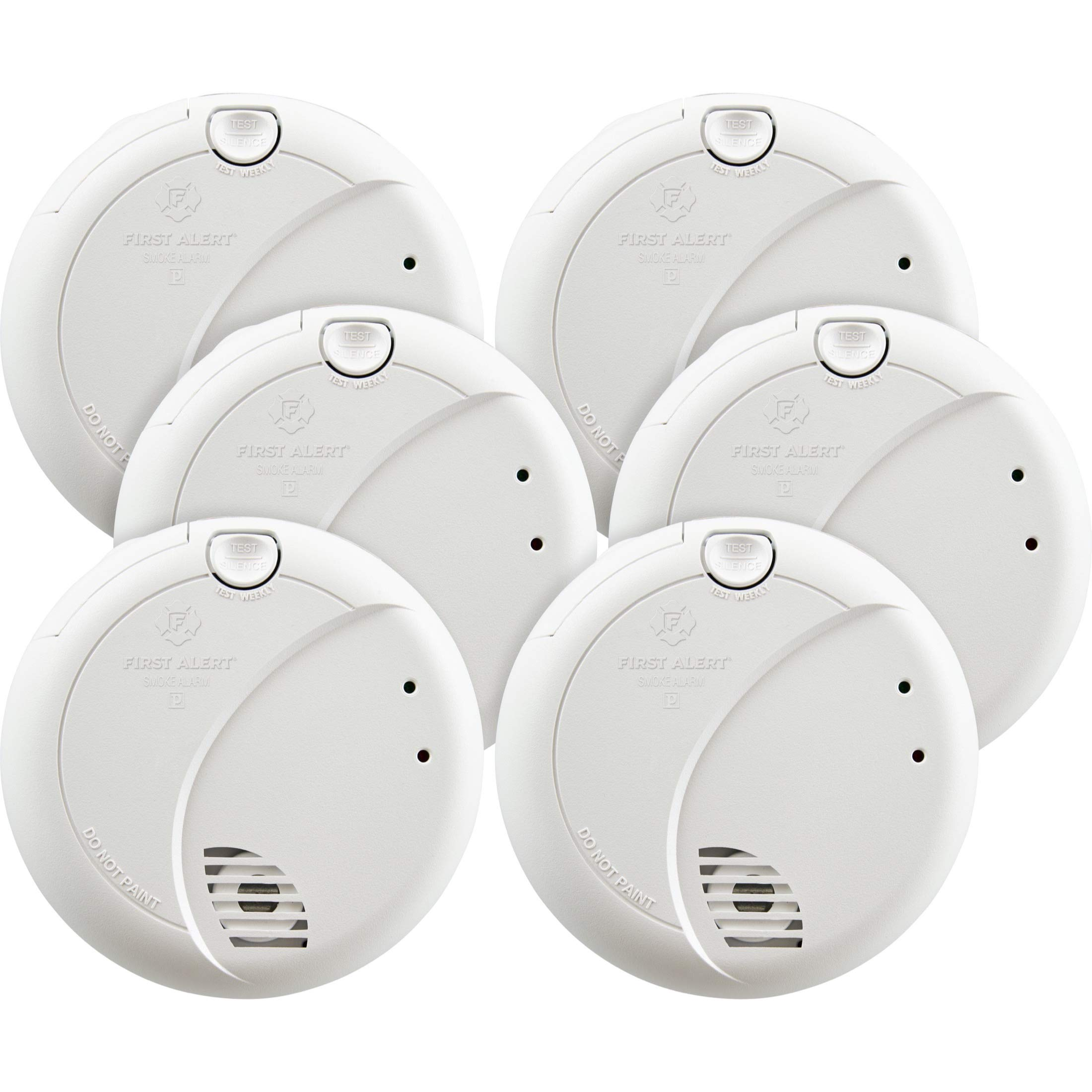 First Alert BRK 7010BFF-6 Hardwired Smoke Detector with Photoelectric Sensor and Battery Backup, 6-Pack