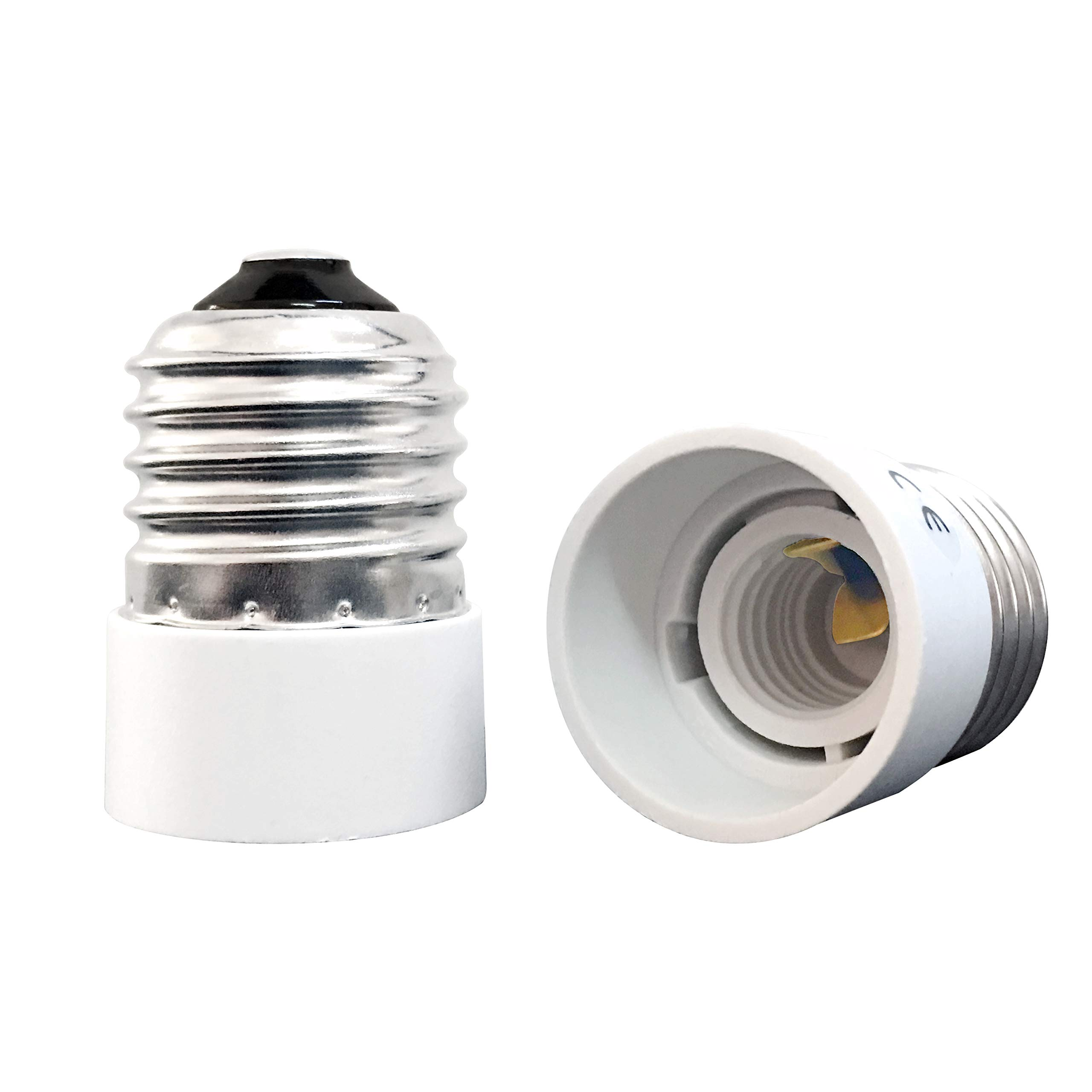 YAYZA! 2-Pack E26 E27 to E12 Bulb Base Adapter, Medium Edison Screw to Candelabra Light Socket Converter, Heat Resistant Up to 200℃ No Fire Hazard