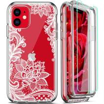FIRMGE for iPhone 11 Case, with 2 x Tempered Glass Screen Protector 360 Full-Body Coverage Hard PC TPU Silicone 3 in 1 Military Grade Heavy Duty Shockproof Phone Protective Cover- Clear Lace Mandala