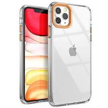 YOUMAKER Compatible with iPhone 11 Pro Max Case, Clear iPhone 11 Pro Max Cover Shock Absorption Phone Cases 6.5 inch - Orange