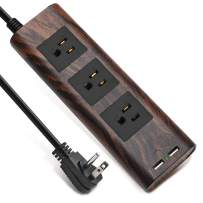 Surge Protector Power Strip 9.8ft Extension Cord 3 Outlet 2 USB Wood Grain Desktop Charger Fire-Retardant with Fastening Cable Tie for iPhone iPad Computer SUPERDANNY