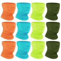 [12-Pack] Neck Gaiter Scarf, Breathable Bandana Face Bandana Cover Cooling Neck Gaiter for Men Women Cycling Hiking Fishing.