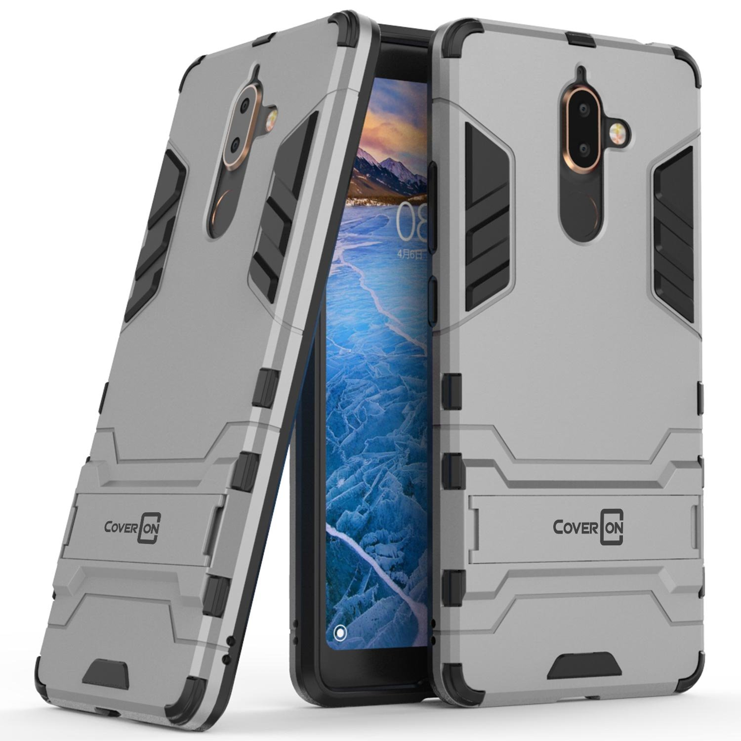 Nokia 7 Plus Case, CoverON [Shadow Armor Series] Hybrid Slim Fit Matte Phone Cover Case with Kickstand for Nokia 7 Plus - Silver & Black