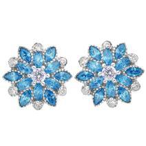 EleQueen 925 Sterling Silver Full Cubic Zirconia Bridal Flower Stud Earrings 15mm