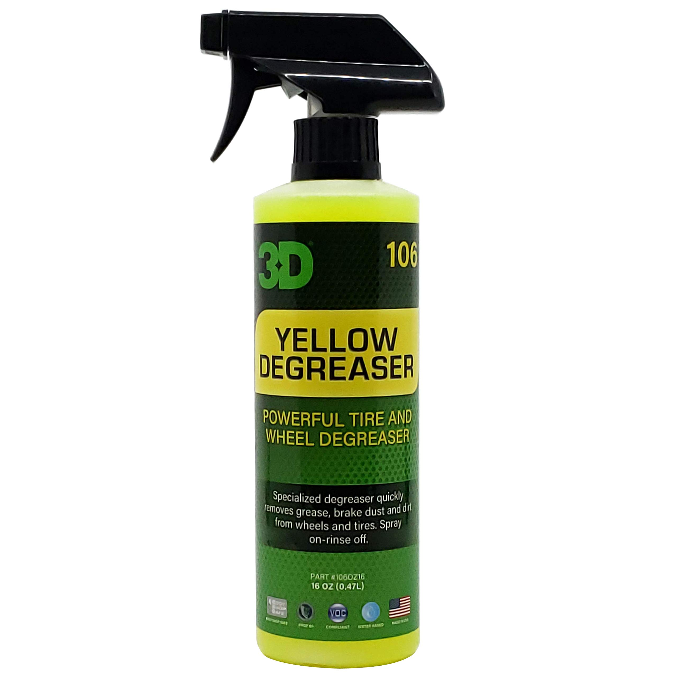 3D Yellow Degreaser Wheel & Tire Cleaner   Highly Concentrated Degreaser & Cleaner   Safe for All Tires   Removes Grease & Brake Dust   Made in USA   All Natural   No Harmful Chemicals (16 oz.)