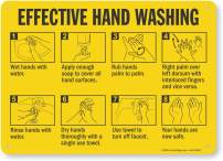 """""""Effective Hand Washing"""" Sign by SmartSign   10"""" x 14"""" Aluminum"""