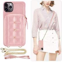 iPhone 11 Pro Max Zipper Wallet Case, LAMEEKU Phone case with Crossbody Chain Wrist Strap Zipper Case Wallet with Credit Card Holder Leather Cover for iPhone 11 Pro Max 6.5 inch(2019)- Rose Gold