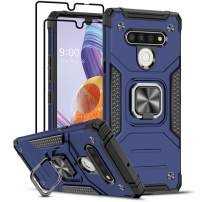 LG Stylo 6 Case with [2 Pack] Tempered Glass Screen Protector, LeYi [Military Grade] Armor Protective Phone Case with Magnetic Ring Kickstand for LG Stylo 6, Blue