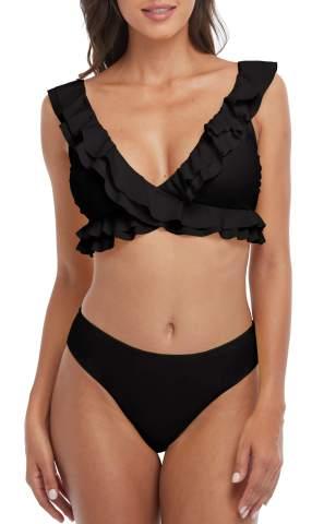 Charmo Ruffle Bikini for Women Flounce Strap V Neck Low Rise Swimsuit Two Piece Cute Bathing Suit