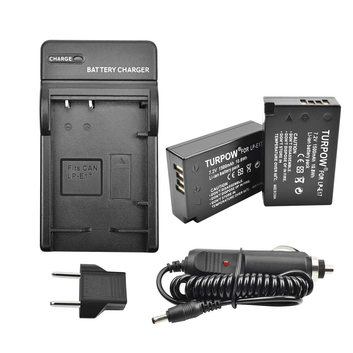 Turpow 2 Pack LP E17 Replacement Battery and Charger Compatible withCanon EOS RP, Rebel T6i, T6s, T7i, SL2, EOS 750D, 760D, 77D, 800D, 8000D, 200D, EOS M3, M5, M6 Digital SLR Camera