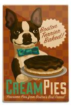Lantern Press Boston Terrier - Retro Cream Pie Ad (12x18 Aluminum Wall Sign, Wall Decor Ready to Hang)