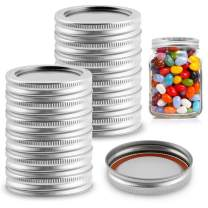 Regular Mouth Canning Lids, KKTICK 24 Sets Canning Lids and Rings Disc with Silicone Seals for Mason Jars - Stainless Steel Leakproof Split-Type Lids for Storage Canning (Silver) - 70mm