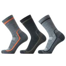 SOLAX Merino Wool Hiking & Walking Socks for Men Crew Quarter Low cut, Trekking, Outdoor, Cushioned, Breathable 3 Pack