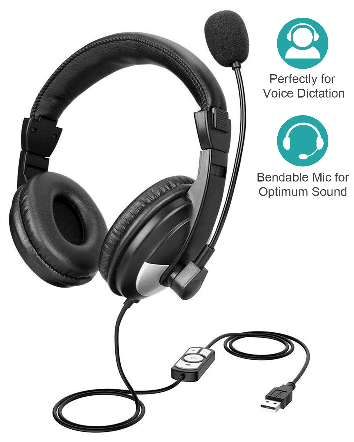GIARIDE Headset USB Earphone with Noise-Cancelling Microphone Widely Use for Call Center, Shopping Mall, Game Room, Media Room, Skype,PC etc, Sound Clear and Wearing Comfortable, Hearing Protection