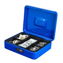 Jssmst Large Cash Box with Combination Lock – Durable Metal Cash Box with Money Tray, Blue, 11.81 x 9.84 x 3.46 inches, CB0702XL