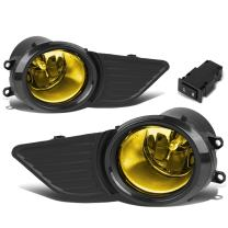 Auto Dynasty Pair of Driving Bumper Fog Light+Bezel Covers+Wiring+Switch Replacement for 11-17 Sienna (Amber Lens)