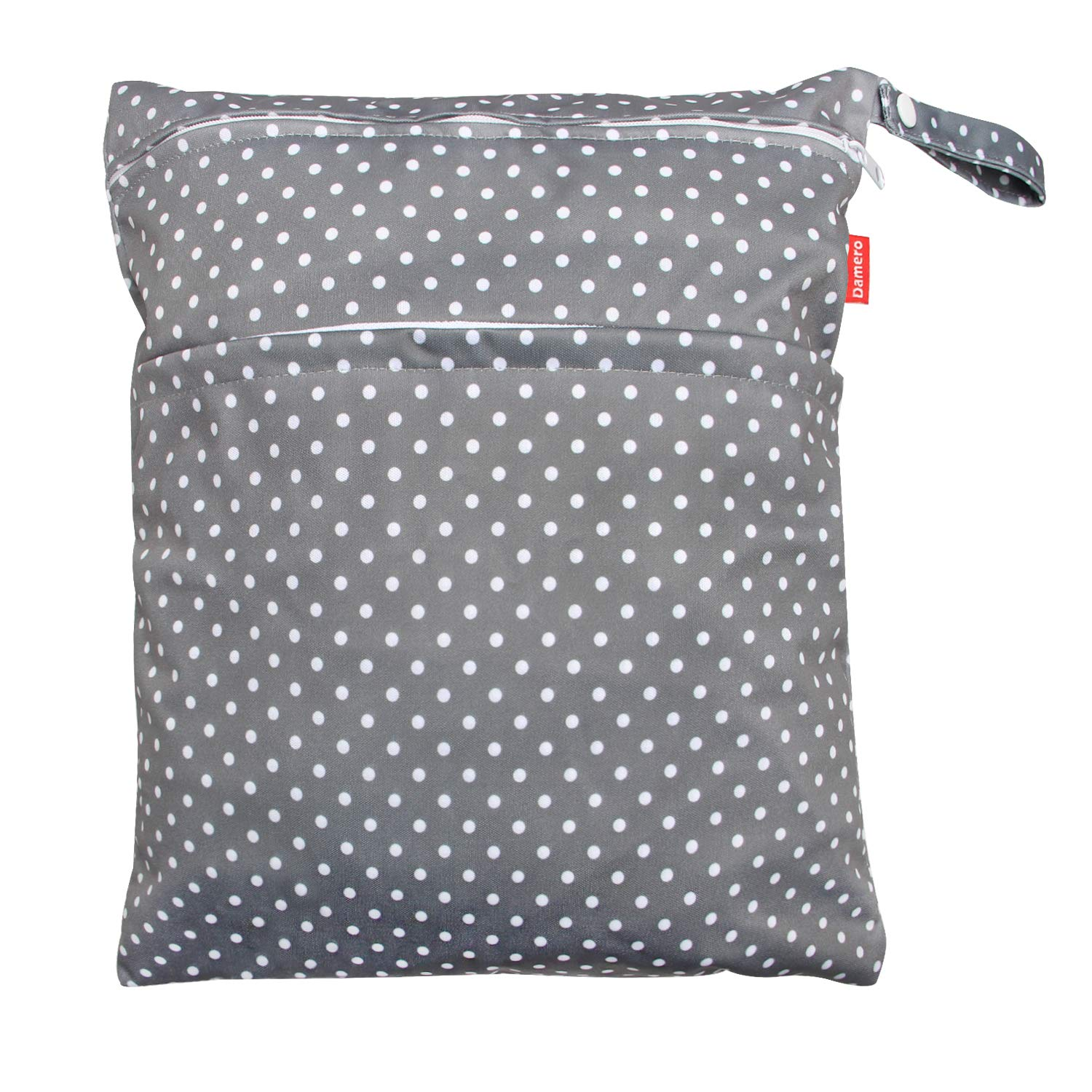 Damero Travel Wet and Dry Bag with Handle for Cloth Diaper, Pumping Parts, Clothes, Swimsuit and More, Easy to Grab and Go (Medium, Gray Dots)